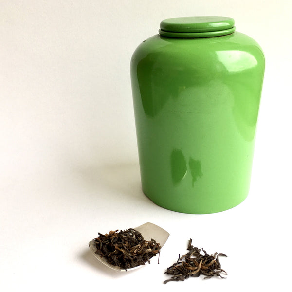 Photo of green tea caddy, loose tea and tea caddy spoon by Michele Wyckoff Smith www.wyckoffsmith.com