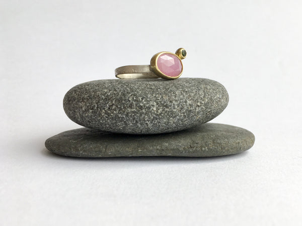Faceted Pink Sapphire with Tourmaline Ring