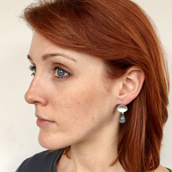 Detachable gemstone earrings shown on model by Wyckoff Smith Jewellery. www.wyckoffsmith.com