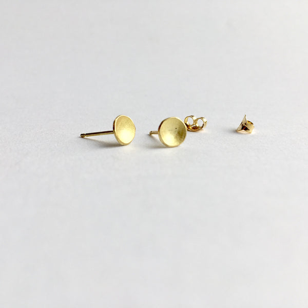 18 ct gold domed earrings with butterfly backings by Wyckoff Smith Jewellery