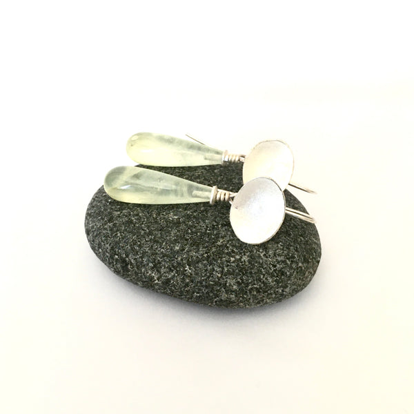 Removable elongated teardrop shape prehnite on dangle earrings on www.wyckoffsmith.com