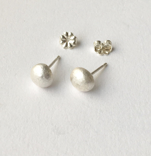 Recycled Silver Ball Earrings