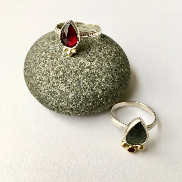 Garnet and Sapphire with rhodolite rings by Michele Wyckoff Smith