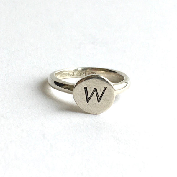 Monogramed signet ring - M or W only on sale - www.wyckoffsmith.com