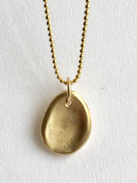 9 ct yellow gold Worry Stone necklace - anti anxiety jewellery by Wyckoff Smith Jewellery
