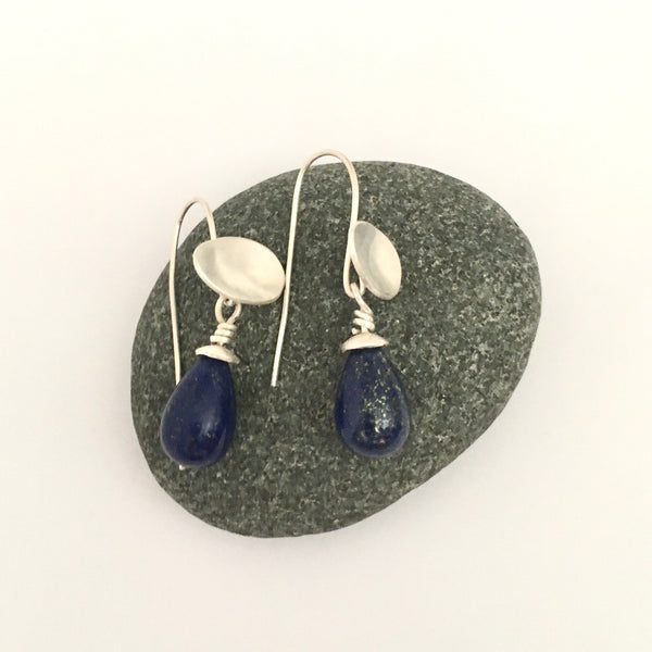 Lapis Lazuli removable pippin gemstones on oval dangle earrings on www.wyckoffsmith.com