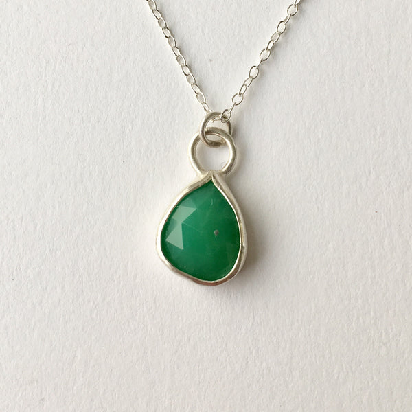 Faceted apple green chrysoprase pendant set in silver by Michele Wyckoff Smith