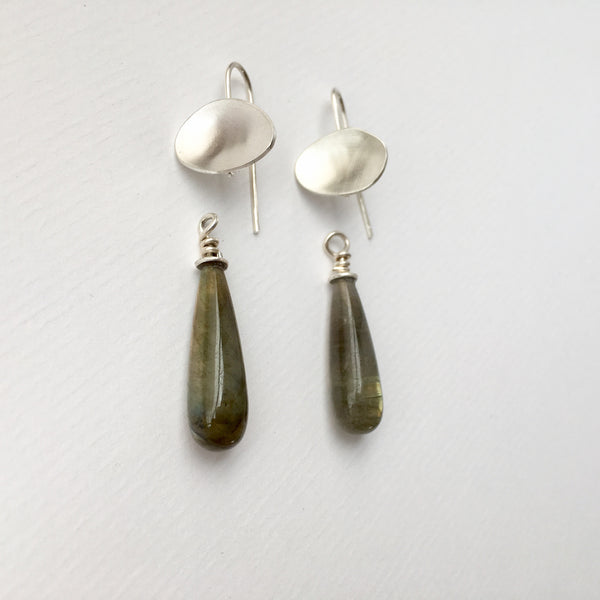 Detachable labradorite pippins on modular earrings by www.wyckoffsmith.com