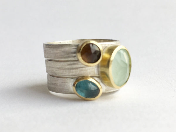 Silver and gold stacking rings by Wyckoff Smith Jewellery: Smokey topaz, aquamarine and tourmaline silver and gold rings