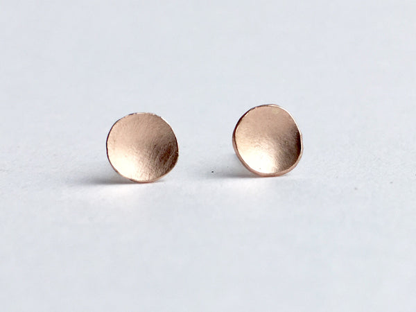 14 ct rose gold domed earrings by Wyckoff Smith Jewellery