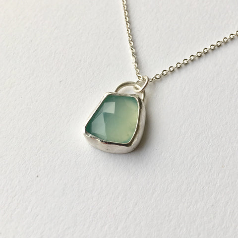 Blue green dyed quartz silver pendant by Michele Wyckoff Smith