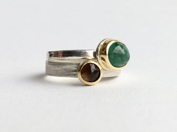 Emerald and Smokey Topaz stacking rings by Michele Wyckoff Smith