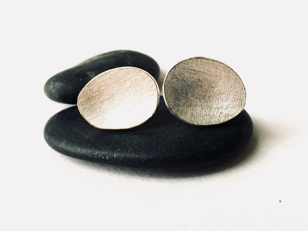 Oval textured silver earrings by Michele Wyckoff Smith