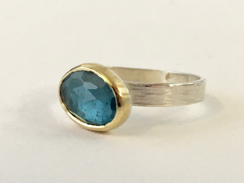 London Blue Topaz ring in silver and 18 ct gold by Wyckoff Smith Jewellery