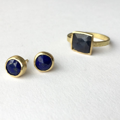 Faceted lapis lazuli and gold earrings, faceted square sapphire ring by Michele Wyckoff Smith