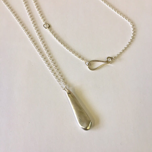 Long drop silver pendant on adjustable silver chain by Michele Wyckoff Smith