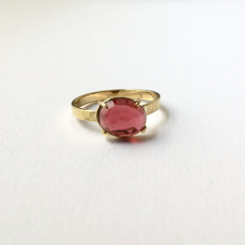 Rose cut garnet ring set in 18 ct gold, Michele Wyckoff Smith