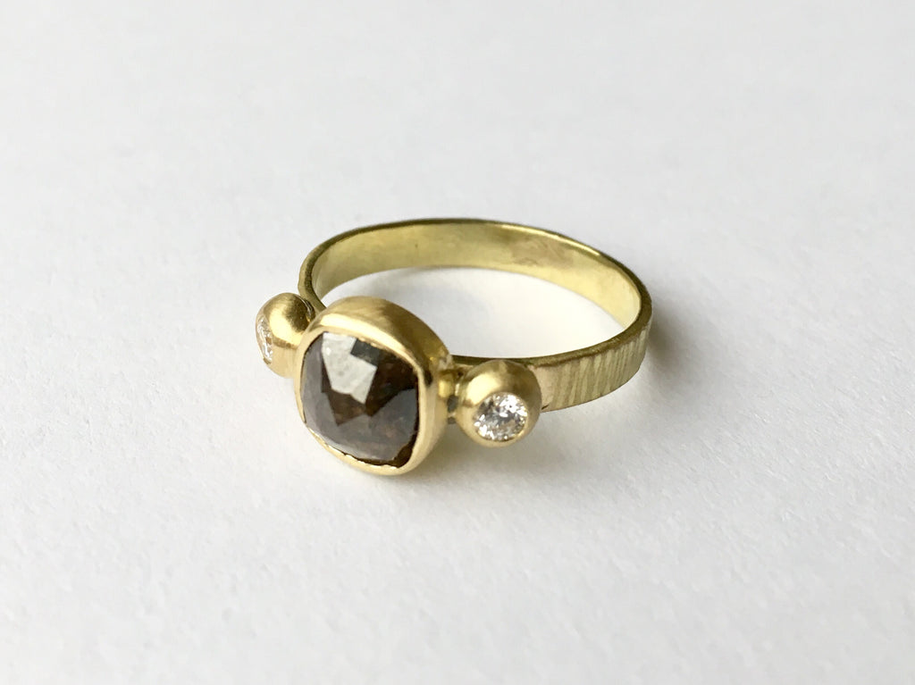 Salt and pepper rough diamond ring by Michele Wyckoff Smith