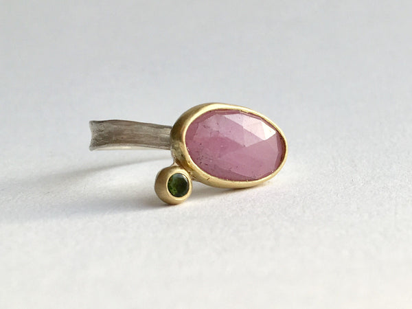 Pink sapphire and green tourmaline set in 18 ct gold on silver ring by Michele Wyckoff Smith