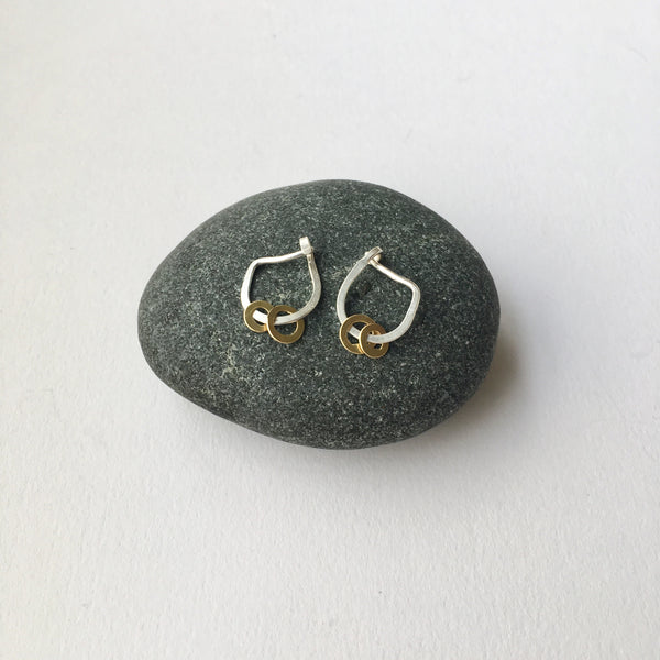 Small Hammered Silver Hoop Earrings with 18 ct gold dangles