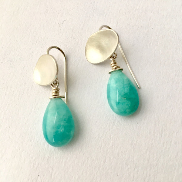 Amazonite dangle pippin earring with removable stones on www.wyckoffsmith.com