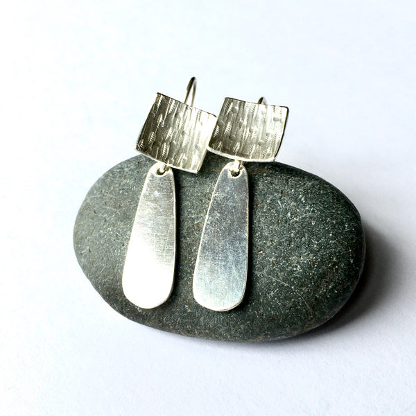 Textured square dangle earrings with removable elongated teardrop shape on www.wyckoffsmith.com