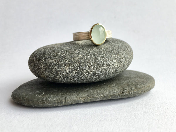 Silver and gold aquamarine ring on two granite stones by Michele Wyckoff Smith
