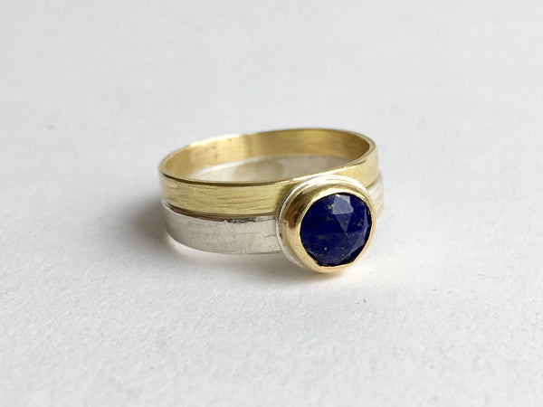 Silver and gold stacking ring with lapis lazuli ring on www.wyckoffsmith.com