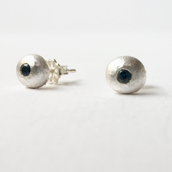 Flush set London Blue Topaz  (Option 2) recycled silver ball stud earrings by Michele Wyckoff Smith, Wyckoff Smith Jewellery