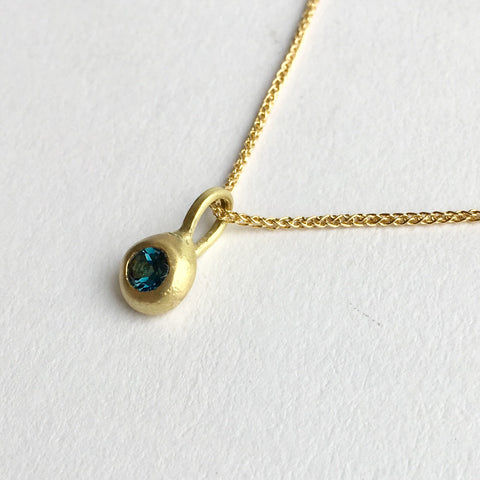 18 ct gold and London Blue Topaz drop pendant by Michele Wyckoff Smith