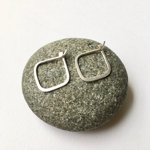 Square hoop earrings - hand forged silver earrings - Wyckoff Smith Jewellery