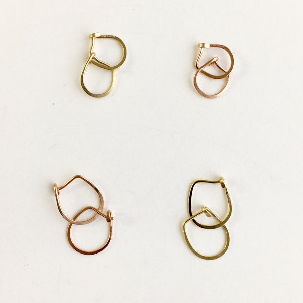 14 ct yellow or rose gold hammered hoops by Wyckoff Smith Jewellery