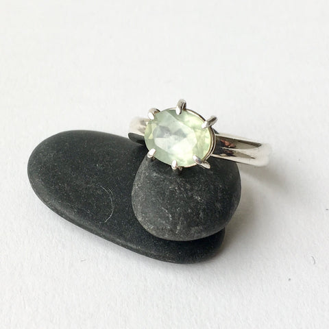 SALE: Pale Green Prehnite Ring with Six Prong Setting