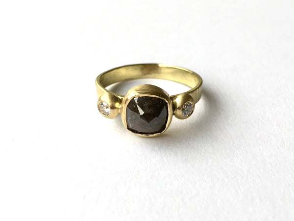 Salt and pepper rough diamond gold ring by Michele Wyckoff Smith