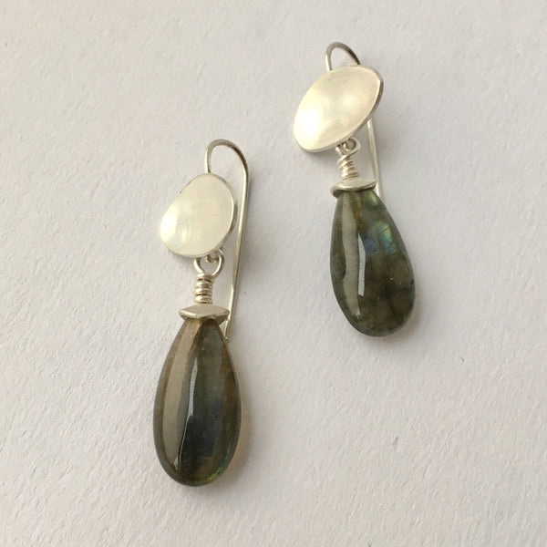 Labradorite Dangle Earrings with Silver Ovals