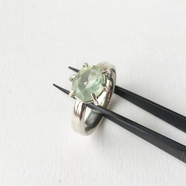 Pale Green Prehnite Ring with Six Prong Setting