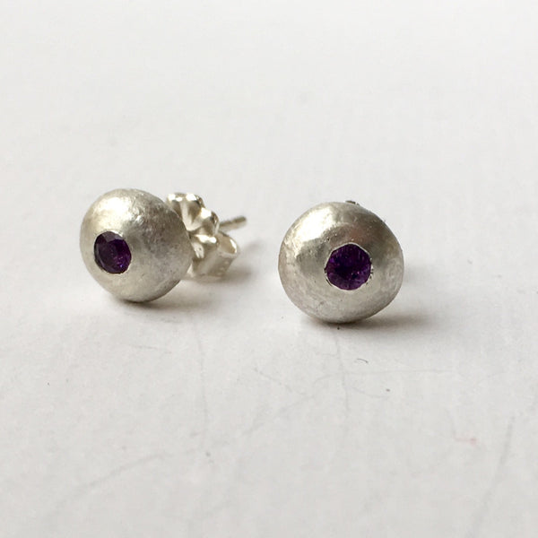 Purple Amethyst flush set (Option 1) recycled silver ball earrings by Michele Wyckoff Smith, Wyckoff Smith Jewellery