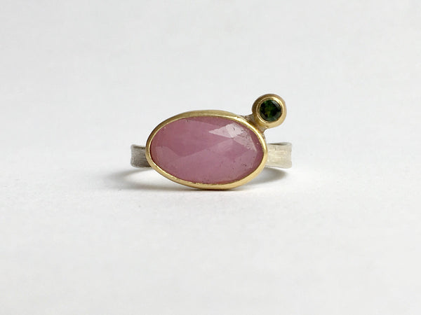 Pink sapphire and green tourmaline silver and gold ring by Michele Wyckoff Smith