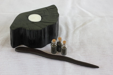 Bog Oak Collection: Candle holder, Wand, Incense set of 3.
