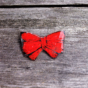 Large Butterfly Shaped Red Enameled Brooch