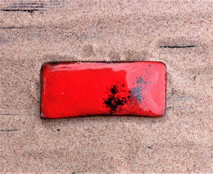 Large Enamel on Copper Red Brooch