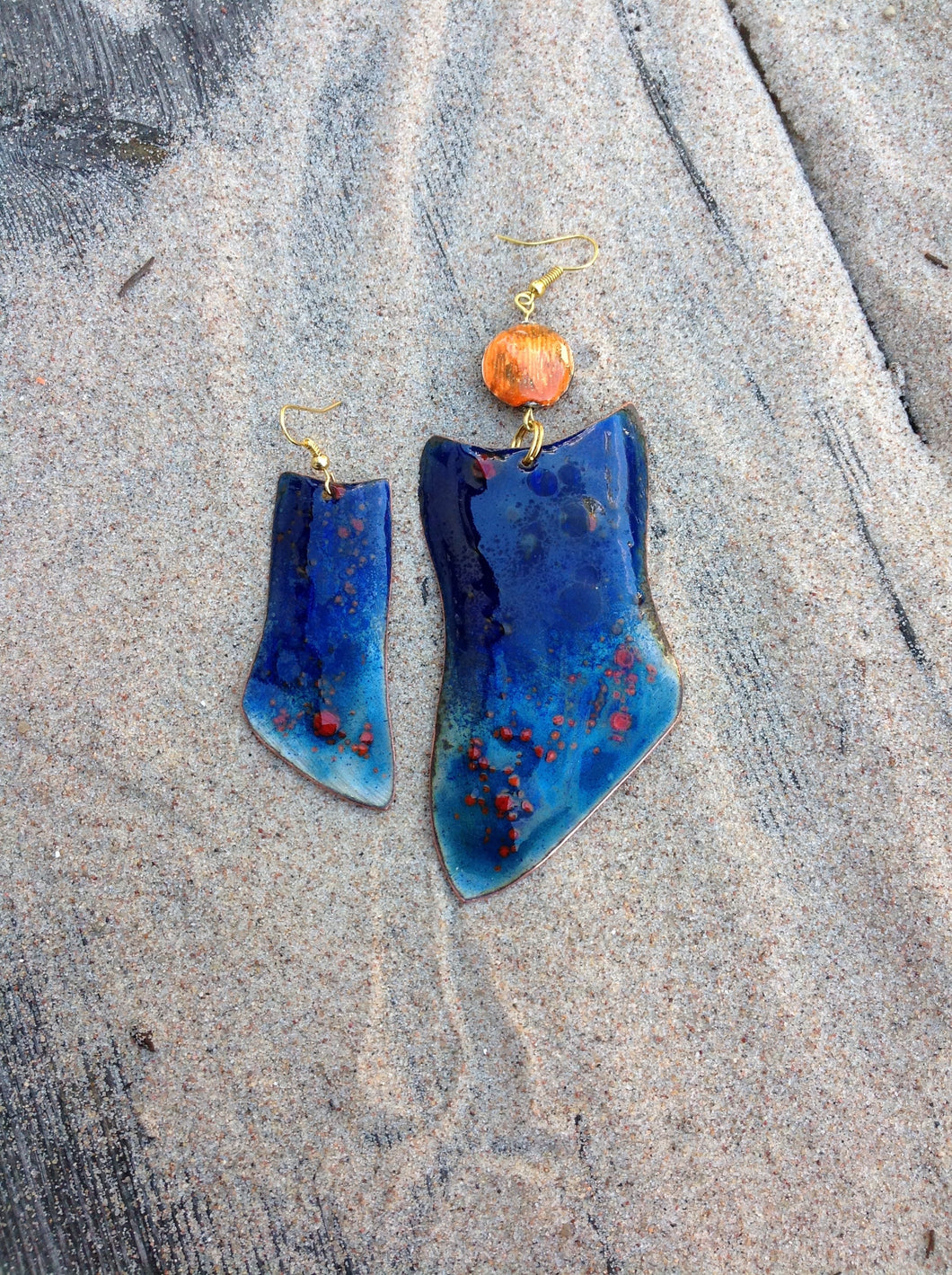 Large Dangle Blue Enameled Forged Copper Earrings Asymmetric
