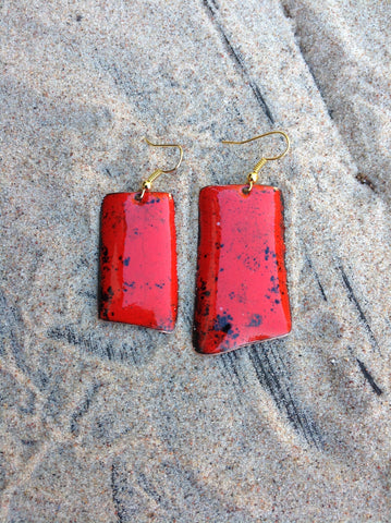 Dangle Red Enameled Forged Copper Earrings Asymmetric