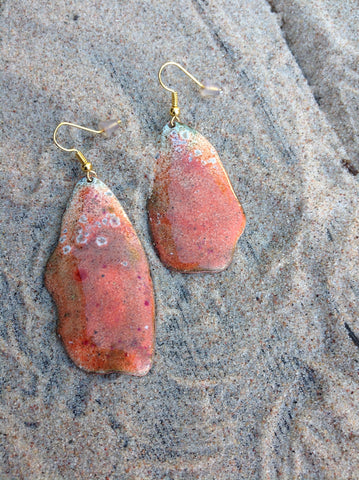 Dangle Orange Enameled Forged Copper Earrings Asymmetric