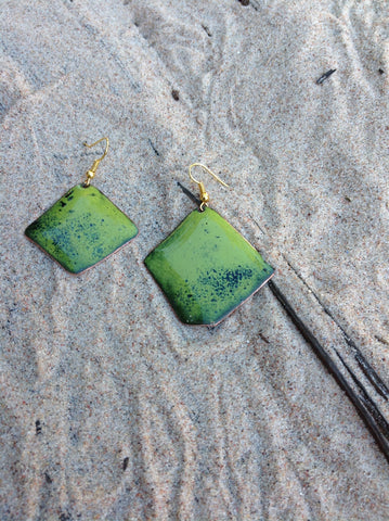 Dangle Green Enameled Forged Copper Earrings Asymmetric