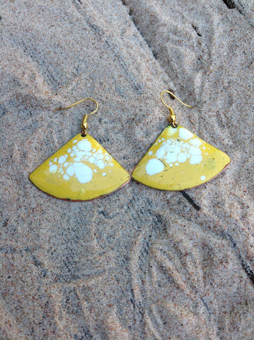 Dangle Yellow Enameled Forged Copper Earrings