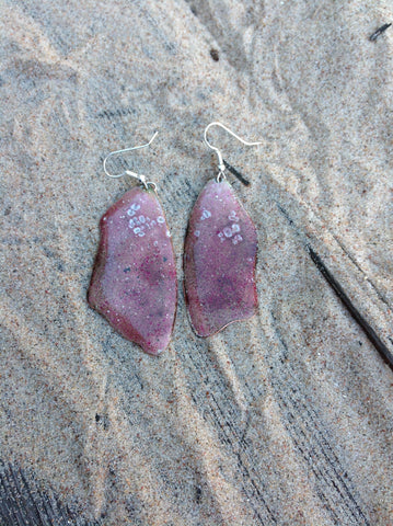 Dangle Purple Enameled Forged Copper Earrings Asymmetric