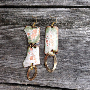 Large Dangle Colored Enameled Forged Copper Earrings Asymmetric