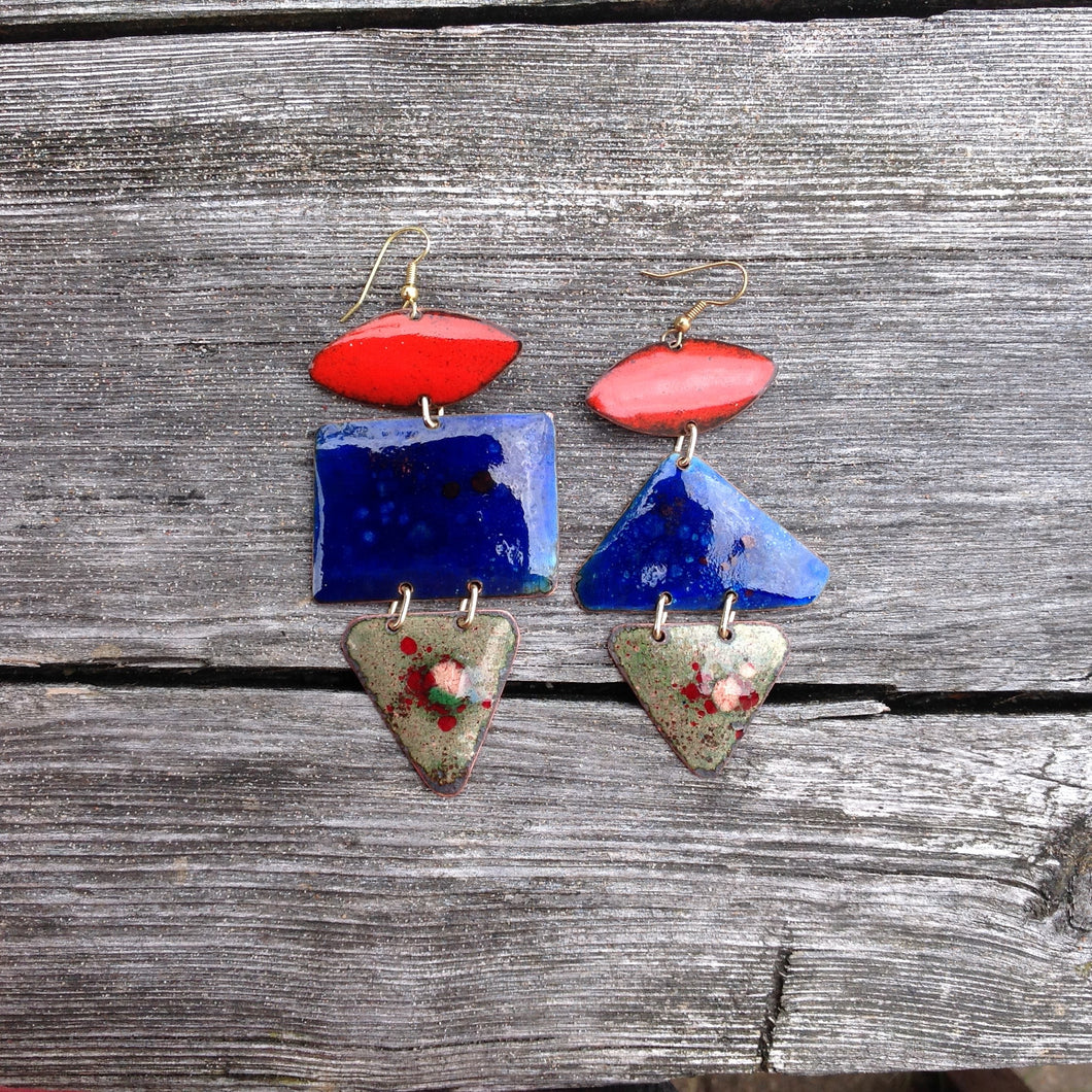 Dangle Colored Enameled Forged Copper Earrings Asymmetric