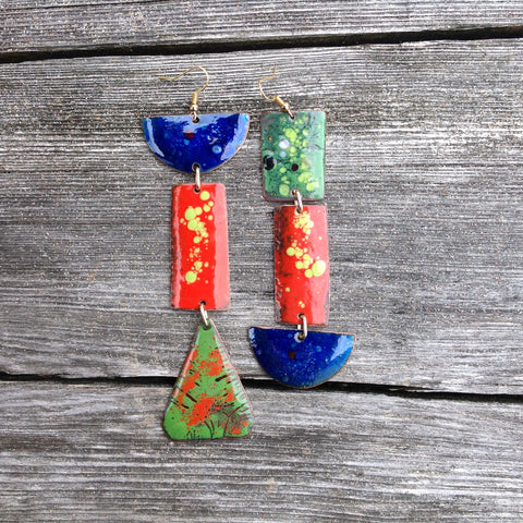 Large Long Dangle Colored Enameled Forged Copper Earrings Asymmetric